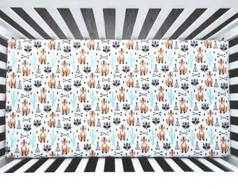 Fox & raccoon chief, mint cactus and teepee fitted crib sheet (#0148)