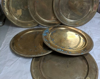 Brass Vintage Charger Plates, Set of Six, Wiccan Dinner Table, Witches Brew, Steampunk plates