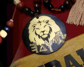 Leather Hebrew Medallion Necklace, Gold Hand Painted Lion of Judah Paleo Modern Hebrew Script, Israel Jewelry, Hebrew, For Him, Custom Tribe