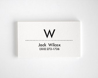 Mid-Century Modern Calling Cards - Utility Style - Personalized Initial Letterpress