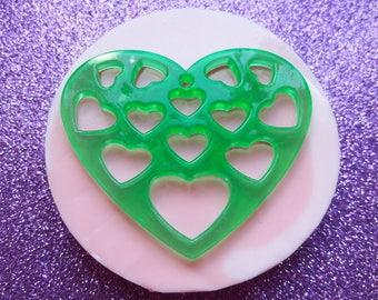 Silicone rubber stencil Big heart pierced Charm