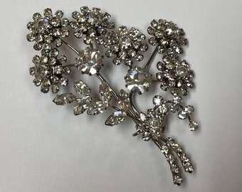 Vintage Rhinestone Floral Spray Pin
