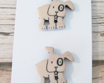 Spunky Whimsical Dog Puppy Buttons in Tan JHB