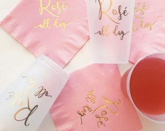 ROSÉ ALL DAY Frosted Shatterproof Cups | Set of 10 | 12 oz. | Gold Foil Print