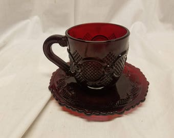Vintage Avon cape cod ruby red Cup and saucer.
