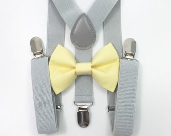 FREE DOMESTIC SHIPPING! Light gray suspenders  + Light Yellow Bow tie toddler kids boy boys Adult holidays photos family photoshoot