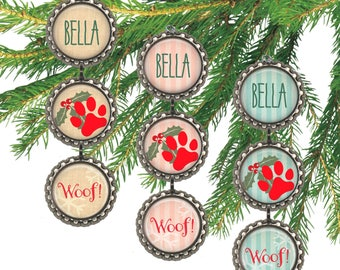 Personalized dog ornament,  pet name, paw print, custom dog Christmas gift for dog owner.