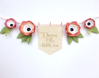 Custom Colors Paper Flower Garland with Personalized Hand Lettered Banner - High Chair Garland / Nursery Decor / Baby or Bridal Shower Decor