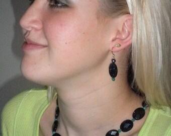 SALE, Ammolite, Blue Goldstone, Black Pearls and Jade Necklace Set