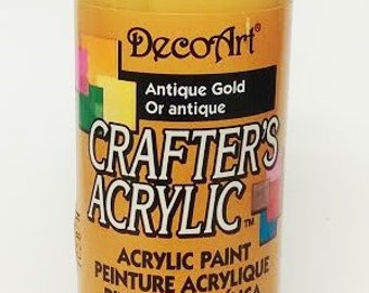 DecoArt Crafter's Acrylic Paint - Antique Gold -  Fast Drying Water-based Permanent - Art Craft Stencil Ceramic Wood Paper Mixed Media