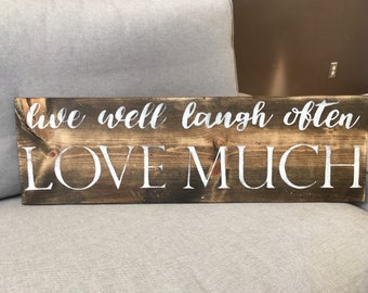 Live Laugh Love | Handpainted Wood Sign | Live Well Sign | Inspirational Sign