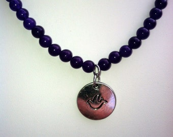 Purple Necklace with Hope Charm.