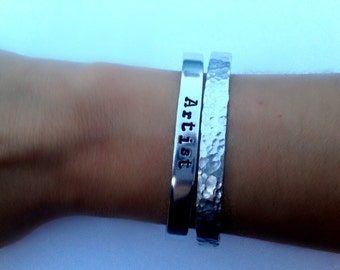 Plain Hammered Cuff Bracelet