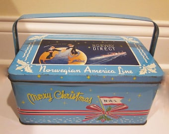 Vintage Norwegian America Cruise Line Christmas Covered Lunch Box Tin Litho