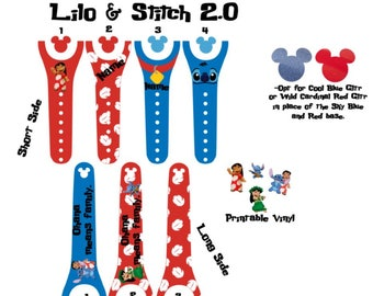 IMPROVED 2.0 Magic Band Decals, Lilo & Stitch, Ohana, hawaiian, hula, lilo, stitch, monogrammed, personalized band