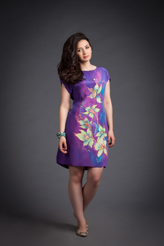 Handgemalte Seidenkleid. Sommerkleid Seide. Prom Kleid.