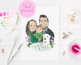 Custom portrait, family portrait, family illustration, gift for mum, hand painted portrait, personalised art, wall decor