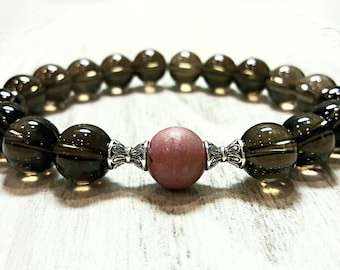 healing stone and crystal jewelry smoky quartz bracelet rhodonite bracelet gift for women protection amulet love bracelet women bead bracele