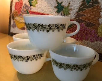 Vintage 1970's Pyrex Coffee/Tea Cups with Spring Blossom Pattern