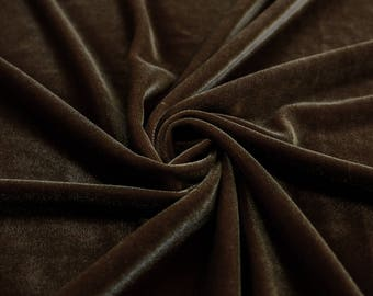Princess BROWN Polyester Stretch Velvet Fabric by the Yard, Half Yard, Sample - 10001