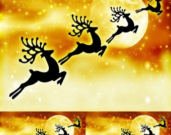 Reindeer in the Moon - Ceramic Decals- Enamel Decal - Fusible Decal - Glass Fusing Decal ~ Waterslide Decal - 11282594