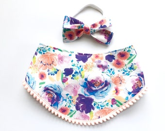 Ultra Violet Floral Flower Print Bib - Pom Pom Bibdana - Baby Girl - Baby Shower Gift - Cottage Chic Shabby Chic - Wildflowers Watercolors