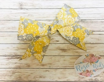 Boutique Gray & Yellow floral Hairbow/Hairclip