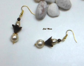Earrings FLORAL ivory & chocolate Bo171