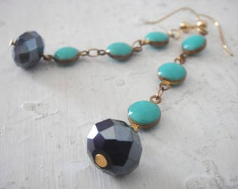 Boho Gatsby Earrings, Swingy Aqua Blue Enamel Polka Dot Chain Dangle Earrings with Jet Black Crystal, Gold Fill Ear Wires