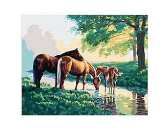 Paint by Number Kit STRETCHED CANVAS Wood Frame 16x20 Horses in the Woods G154
