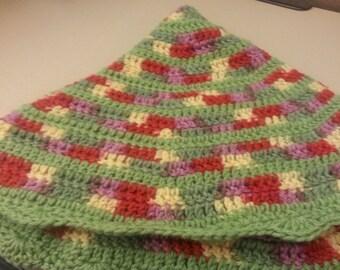 Summertime Crochet Lap Blanket, crochet afghan, circle blanket, round blanket, round afghan