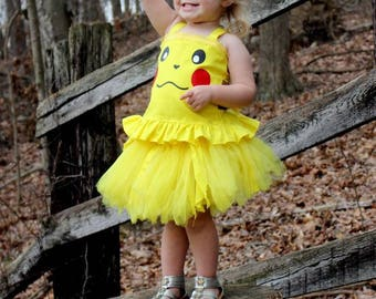 Pikachu Inspired Costume, Pikachu Birthday Outfit, Pickachu Halloween Costume, Picture Set, Pikachu Tutu and Top, Pikachu Dress up Outfit