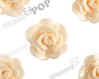 Large Shabby Chic Peach Rose Cabochons, Flower Cabochons, Flat Back Embellishment, Rose Flatback, 30mm x 28mm (R3-066)