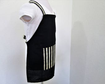 Childrens/Kids Apron-A Solid Black Apron with Black and Off White Stripes - Great for a Boy or Girl, A great apron to cook and create in
