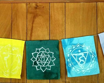 Batik Chakra Prayer Flags, 9.5 x 10 (7 flags)