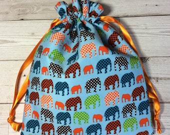 Drawstring project bag - Elephants