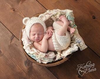Newborn Bear Bonnet Set/ Baby Bear Prop/ Cream Bear Bonnet/ Newborn Photo Prop/ Baby Shower Gift / Gender Neutral Prop