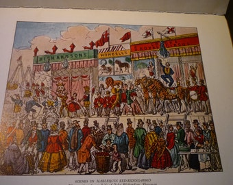 Music Halls of London - Color Lithograph - Harlequin Red Riding Hood and Bartholomew Fair at Night - two sided print 1932