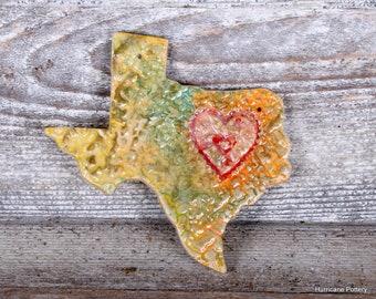 Handmade Texas Ornament. Textured Ceramic Clay Ornament.  State of Texas Ornament.  Texas Gift Tag. Memento
