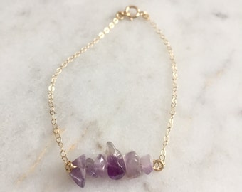 Crystal Bracelet - Amethyst Bracelet - Bar Bracelet - Amethyst Quartz Bracelet - Purple Bracelet - February Birthstone - Birthday Gift