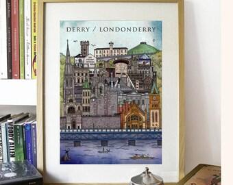 Derry / Londonderry Cityscape illustration print - Ireland