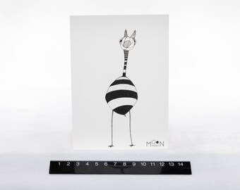 Card A6 giraffe Bumblebee / stripes / illustration / drawing by hand