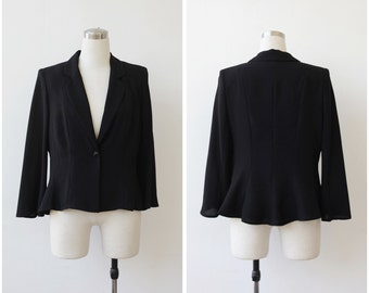 Weill Paris Black Evening Jacket Large 1990's Formal Peplum Elegant Jacket L