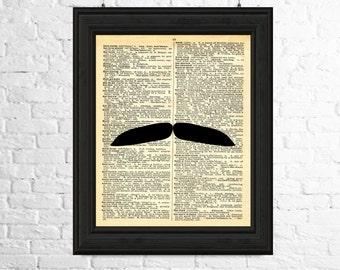 Moustache Wall Art, Moustache Art Print, Dictionary Page Art, Moustache Silhouette, Hipster Print, Moustache Poster, Printable Art