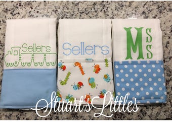 SHIPS FAST! Personalized Burp Cloth (set of 3 )