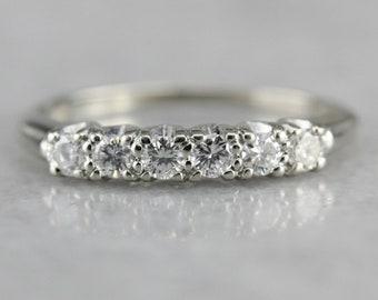 Diamond White Gold Wedding Band, Six Diamond Ring, Anniversary Band 7NFZAHT9