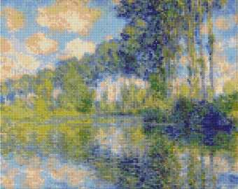 "Monet ""Poplars on the Epte"" Cross Stitch pattern - PDF Instant Download!"