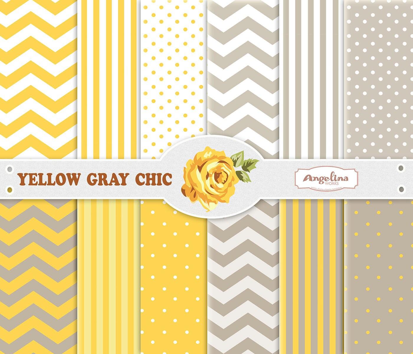 12 Digital Yellow Gray Chevron Scrapbook Paper Pack for