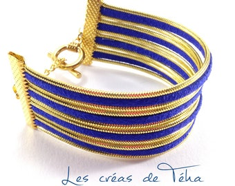 Very pretty gold and royal blue cuff