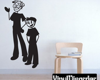 Stick People  Boy and Man - Vinyl Wall Decal - Wall Quotes  - Vinyl Sticker - Brothersvii8ET